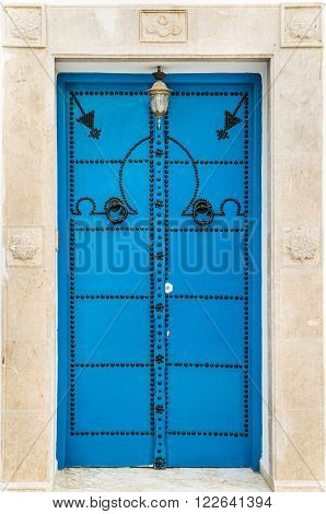 Blue Door With From Sidi Bou Said In Tunisia
