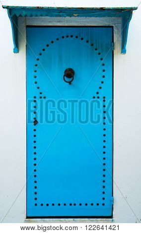 Blue Door With Pattern From Sidi Bou Said In Tunisia