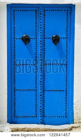 Blue Traditional Door From Sidi Bou Said In Tunisia