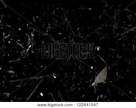 Destructed Or Shattered Glass On Black