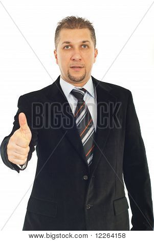 Business Man Gives Thumbs