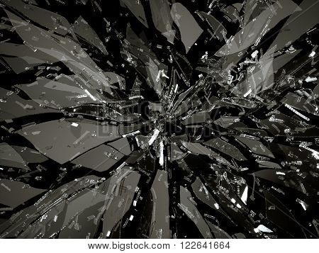 Many Pieces Of Broken Or Shattered Glass