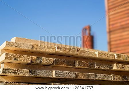 Wooden material for lumber mill closeup shot