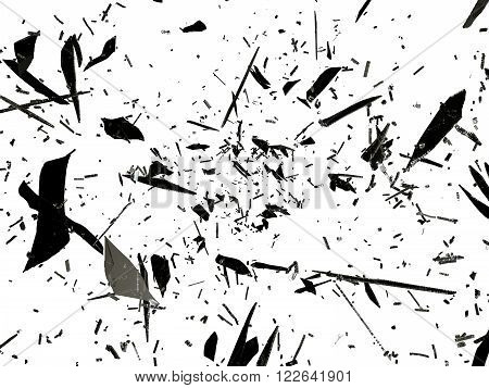 Shattered Or Splitted Glass Pieces Isolated On White