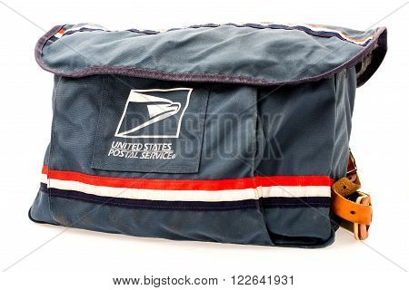 Winneconni WI - 14 June 2015: An image of the USPS satchel that mail carriers use.