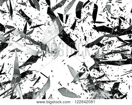 Shattered Or Splitted Glass Pieces Isolated