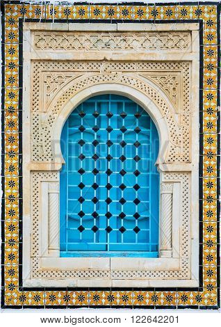 Traditional Window With Pattern And Tiles From Sidi Bou Said