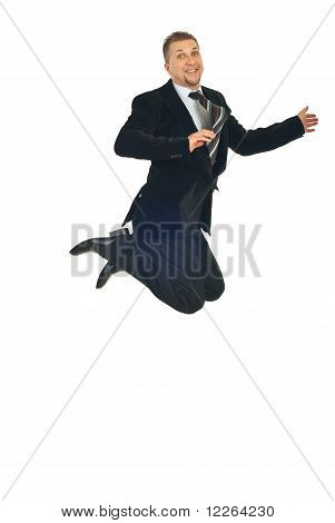 Mid Adult Business Man Jumping