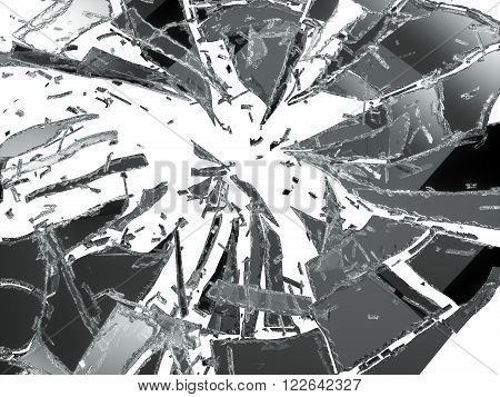 Broken And Damaged Glass Isolated Over White