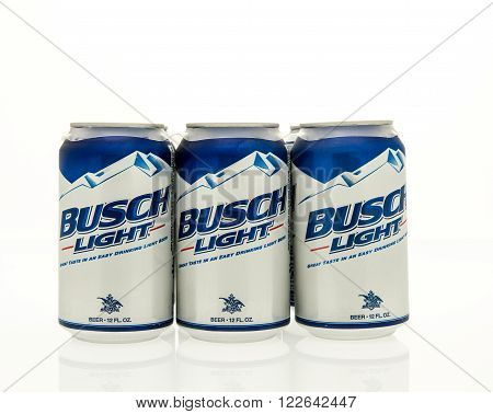 Winneconne WI - 15 March 2016: A six pack of Busch light beer in cans.