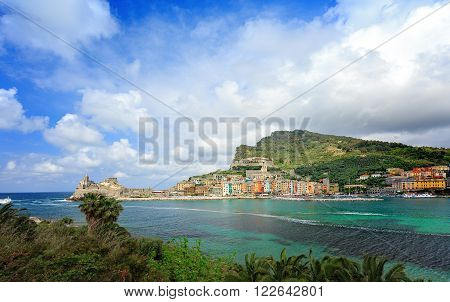 Portovenere - Liguria Italy / View of Portovenere or Porto Venere (UNESCO world heritage site) seen from the Island of Palmaria. La Spezia Liguria Italy