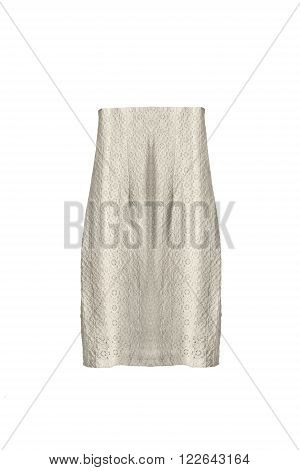 Vintage lacy high waist skirt on white background