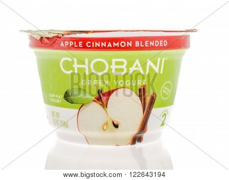 Winneconne WI - 2 March 2016: A container of Chobani Greek yogurt in apple cinnamon flavor