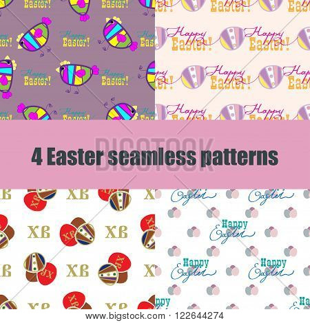 set Easter seamless pattern with colorful eggs, chicken, hand lettering and cyrillic christian element of Easter. Holiday design for easter background, textile, easter packaging. Vector illustration