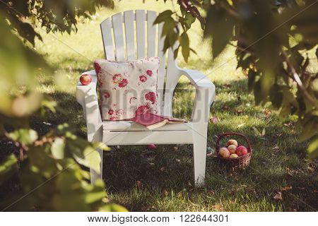 Relaxing spot with a chair and a book  in an orchard garden