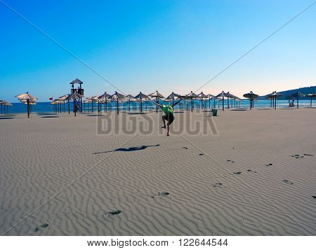 Very spacious sandy long beach of Ulcinj is good to run here.