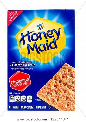Winneconni WI - 23 June 2015: Package of Honey Maid gramham crackers in cinnamon flavor