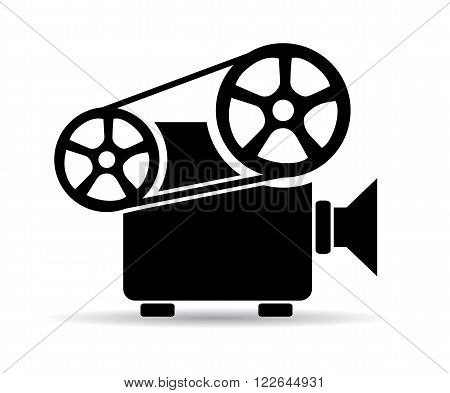 Old cinema video projector icon isolated on white background