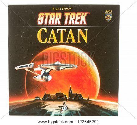 Winneconni WI - 12 June 2015: Box of the popular board game of Catan in Star Trek edition.
