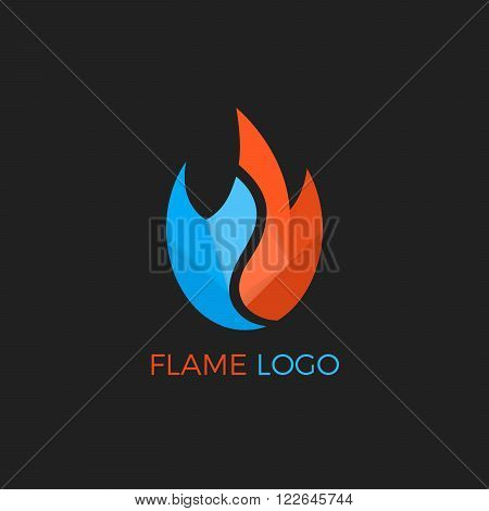 Fire Flame vector logo design template. Vector colorful design elements. Fire Flame creative icon. Abstract fire flame logo. Paper flame. Origami