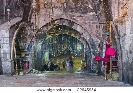 JERUSALEM ISRAEL - FEBRUARY 16 2016: The long staircase leads to the underground Church of the Assumption (Mary's Tomb) on February 16 in Jerusalem