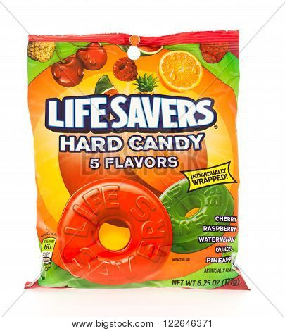 Winneconni WI - 19 June 2015: Bag of Lifesavers hard candy in assorted flavors