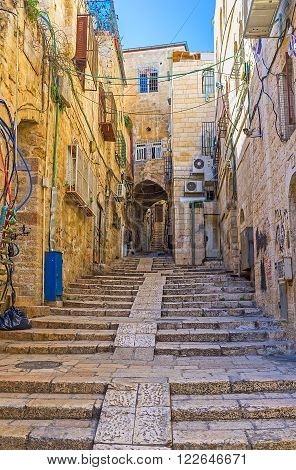 The old Jerusalem located on the hilly area so there are a lot of streets with long stairs Israel.
