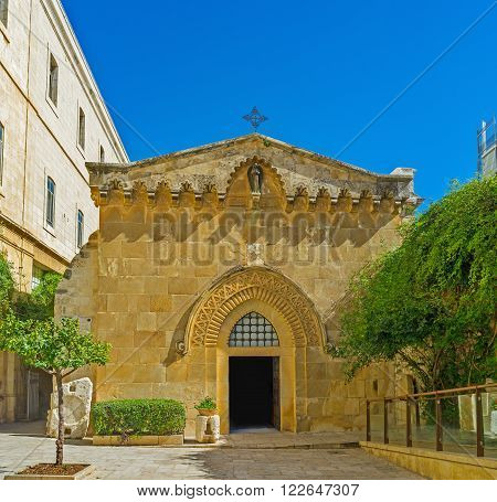 The facade of Church of the Flagellation is decorated with the carves stone pattern Jerusalem Israel.