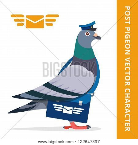 Pigeon postman bird vector character color illustration pigeon postman with blue hat and bag logo mail envelope wings
