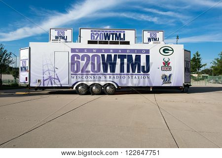 Milwaukee WI - 6 June 2013: Trailer of the 620 WTMJ AM radio station that covers all major sports in Wisconsin.