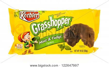 Winneconni WI - 23 June 2015: Package of Keebler grasshopper mint & fudge cookies