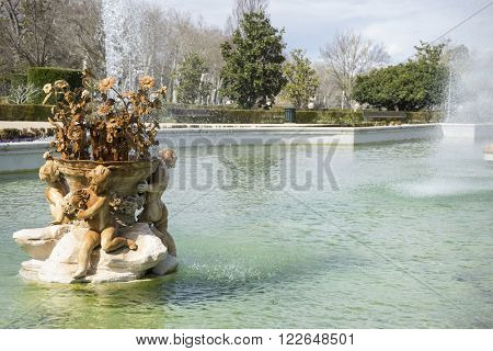 spring, fountain of the goddess ceres parterre in the garden of the palace of Aranjuez in Spain