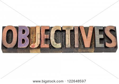 objectives - isolated word in vintage letterpress  wood type printing blocks