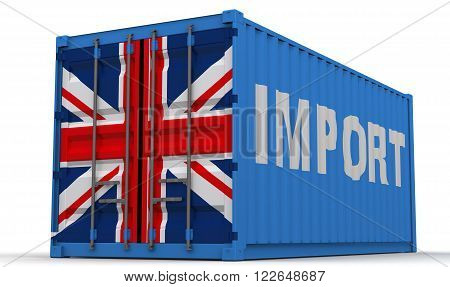 Import of Great Britain. Freight container on a white surface with inscription