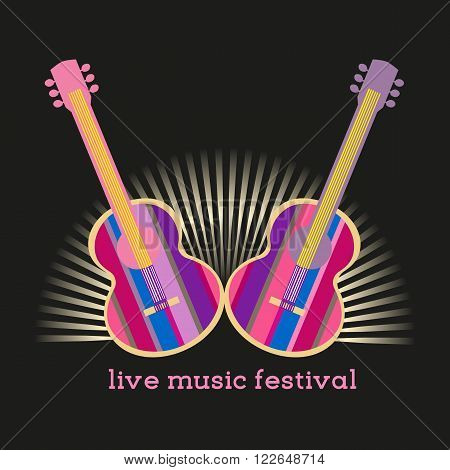 Vector Typography Concept live music festival acoustic guitar poster. Template for music concert background. Design idea for live musiic quitar show poster flyer banner. Vector illustration.