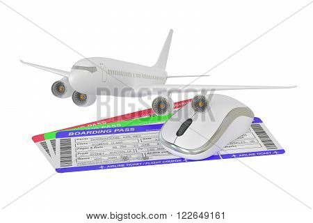 Buying air tickets online concept isolated on white background