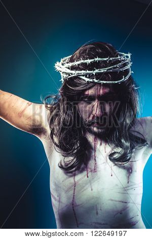 Belief, Easter jesus christ, son of god representation with crown of thorns and wounds of Calvary skin