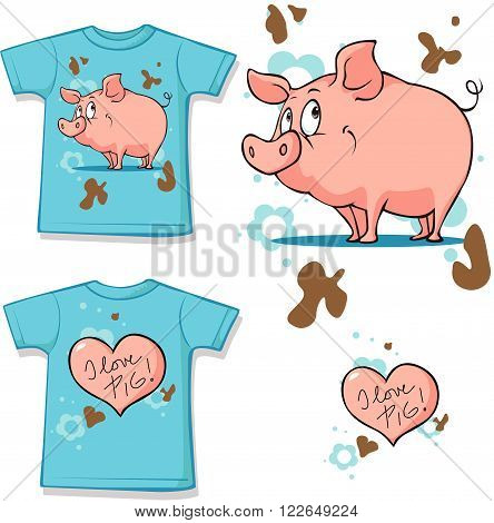 shirt with cute pig on white background