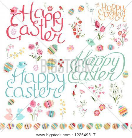 Easter spring set. Phrase Happy Easter, isolated painted eggs, seamless horizontal borders. Objects for your design, festive greeting cards, posters.