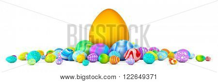 Pile of colorful Easter eggs surrounding a giant golden egg