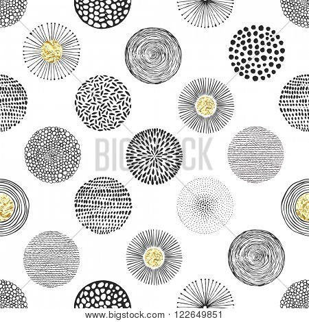 Seamless vector pattern with hand-drawn circles texture and golden foil, abstraction illustration of black silhouette on white background.