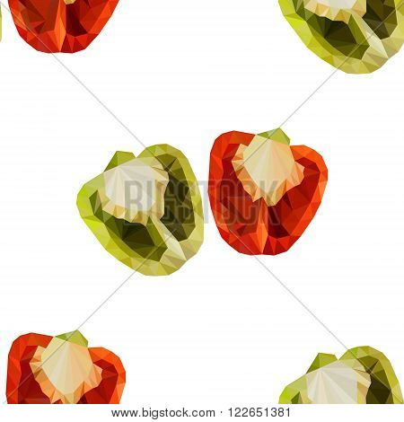 Polygonal Sweet pepper.  Low poly red bell pepper.