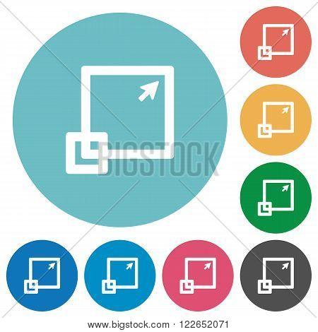 Flat maximize window icon set on round color background.