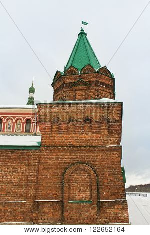 Staraya Ladoga, Russia - 23 February, The brick tower built in the thirteenth century, 23 February 2016. Tourist places in the great ancient route from the Vikings to the Greeks. Nikolsky Monastery. Gold ring of Russia.