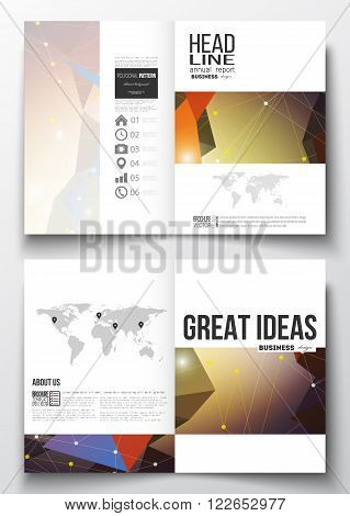 Set of business templates for brochure, magazine, flyer, booklet or annual report. Molecular construction with connected lines and dots, scientific pattern on abstract colorful polygonal background, modern stylish triangle vector texture.