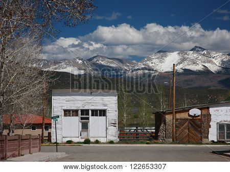 A view of the Sangre de Christo Mountain range from the streets of San Luis in southeastern Colorado in American's west