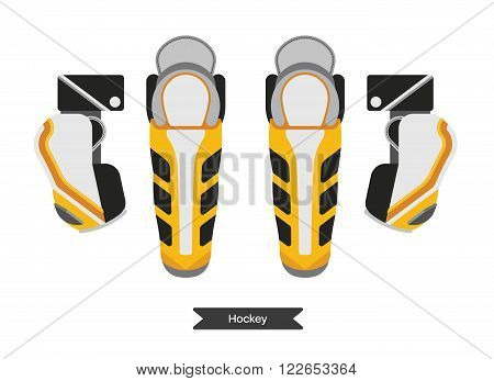 Vector hockey protection. Isolated hockey protective equipment on white background. Ice hockey sports equipment. Protecting shins knees and elbow pads in flat style.
