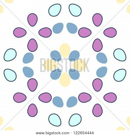 Seamless vector geometrical pattern with ovoids in pastel colors on white background