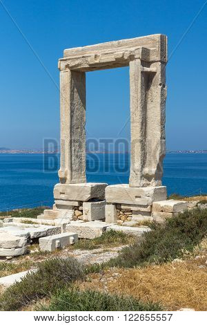 Seascape with Portara, Apollo Temple Entrance, Naxos Island, Cyclades, Greece