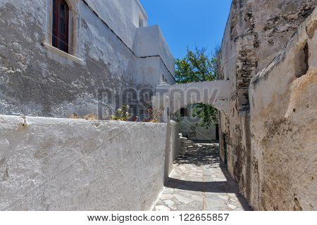 White houses in the fortress in Chora town, Naxos Island, Cyclades, Greece